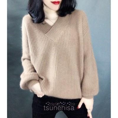 ニットセーターレディースVネック3色無地長袖大人ゆったり着やすいセーター人気トップス秋冬