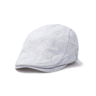 サイドベルト 無地 コットン ハンチング 帽子 ベーシック 調整 アジャスター (ライトグレー)
