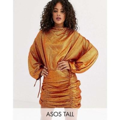 エイソス ASOS Tall レディース ワンピース ミニ丈 ワンピース・ドレス ASOS DESIGN Tall oversized mini dress in all over sequin ラスティック