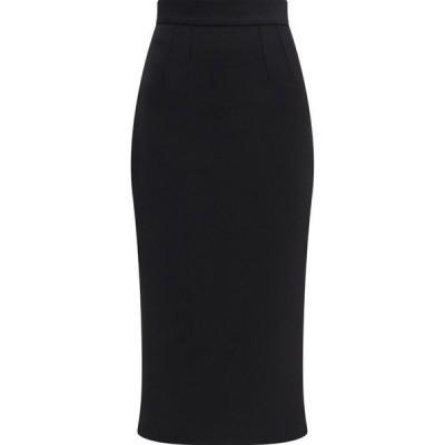 ドルチェ&ガッバーナ Dolce & Gabbana レディース ひざ丈スカート スカート High-rise wool-crepe midi skirt Black