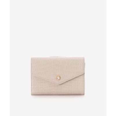 サマンサタバサプチチョイス Samantha Thavasa Petit Choice クロコ型押し中折財布 (ベージュ)