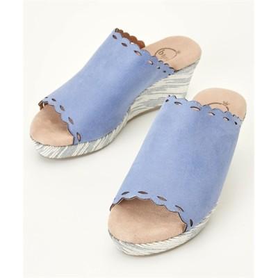 ふわふわなクッションのフラワーカットウェッジサンダル(ワイズ4E) サンダル, Sandals