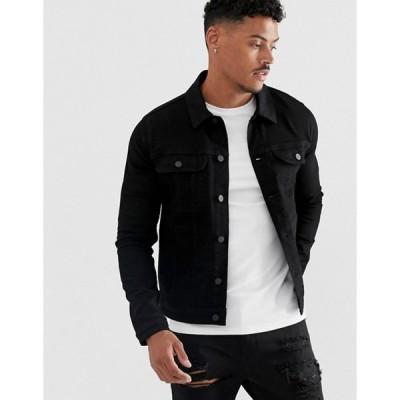 エイソス メンズ ジャケット・ブルゾン アウター ASOS DESIGN skinny western denim jacket in black