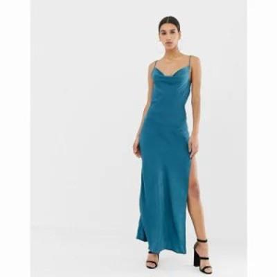 ミスガイデッド ワンピース satin cowl neck maxi slip dress in blue Teal
