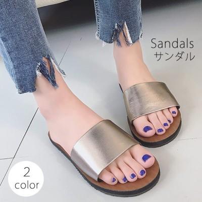 サンダル レディース フラット シューズ カジュアル おしゃれ 大人 ベーシック 人気 ぺたんこ靴 セールC3359