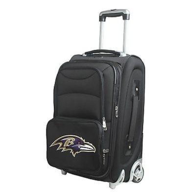 Denco Sports 海外直輸入ブランドアクセサリー Baltimore Ravens ブラック Ballistic ナイロン 21-inch Carry-on 8-wheel