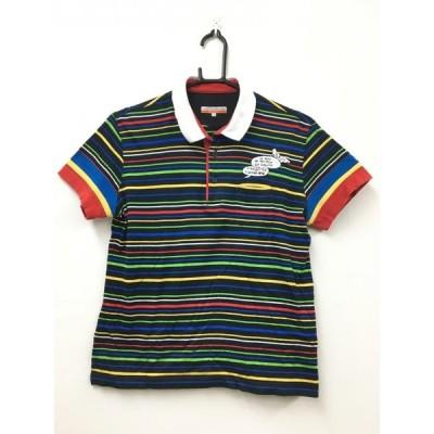 ★70%OFF価格★CASTELBAJAC カステルバジャックスポーツ 半袖ポロシャツ 黒×レッド×マルチ ボーダー レディース 2 ゴルフ r12
