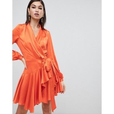 フォーエバーユニーク レディース ワンピース トップス Forever Unique satin wrap dress Orange