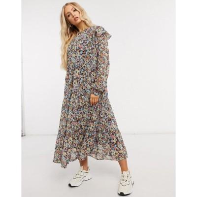 ピース ミディドレス レディース Pieces midi dress with ruffle detail in mixed floral エイソス ASOS sale ブラック 黒