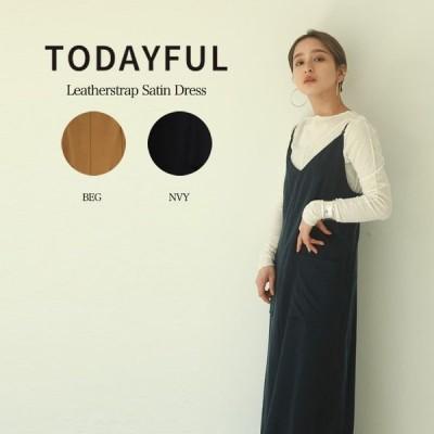 SALE30%OFF TODAYFUL 20秋 トゥデイフル ワンピース Leatherstrap Satin Dress レザーストラップサテンドレス 12020305