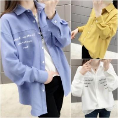 シャツ 3色 ブラウス 長袖 ゆったり オーバーサイズ 無地 ロゴ カジュアル 羽織り 韓国ファッション アウター P6053