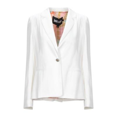 ジャストカヴァリ JUST CAVALLI テーラードジャケット ホワイト 44 レーヨン 100% テーラードジャケット