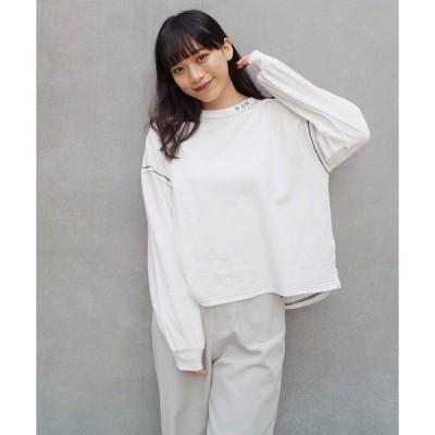 tシャツ Tシャツ 配色ロゴ&ステッチカットソー