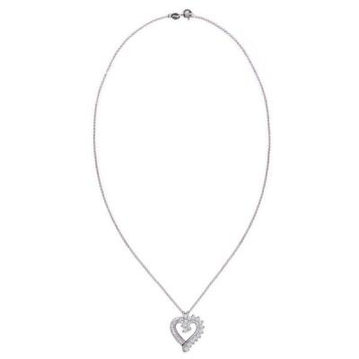 メイシーズ Macy's レディース ネックレス ジュエリー・アクセサリー Simulated Rounds and Cubic Zirconia Baguettes Heart Pendant Necklace Silver