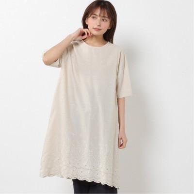 綿麻素材◎裾刺繍ワンピース