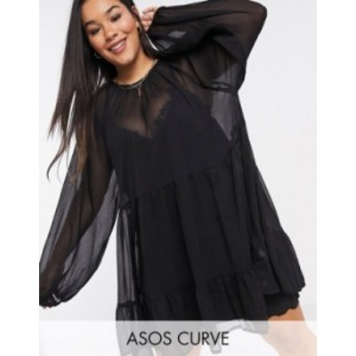 エイソス レディース ワンピース トップス ASOS DESIGN Curve tiered smock mini dress in black Black