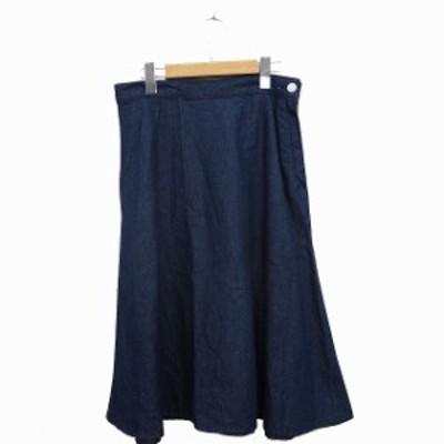 【中古】ジーユー GU スカート フレア デニム ミモレ丈 コットン 綿 XL インディゴ 紺 /MT19 レディース