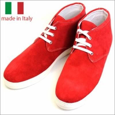 あす着 イタリア製 シューズ スエード レザー ハイカット スニーカー レースアップ レッド 紳士靴 革靴 rego-rosso 春新作 バレンタイン