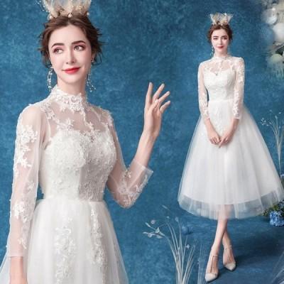 ANGEL 七分袖 肌透け チュール レース パール Aライン ミモレドレス ホワイト 白 ウエディングドレス ミモレ ドレス