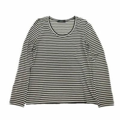 【中古】パリゴ PARIGOT Tシャツ カットソー ボーダー 長袖 M ベージュ 黒 ブラック/4 レディース