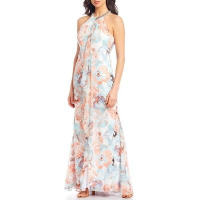 カルバンクライン レディース ワンピース トップス Beaded Halter Neck Sleeveless Floral Print Chiffon Gown Carnation