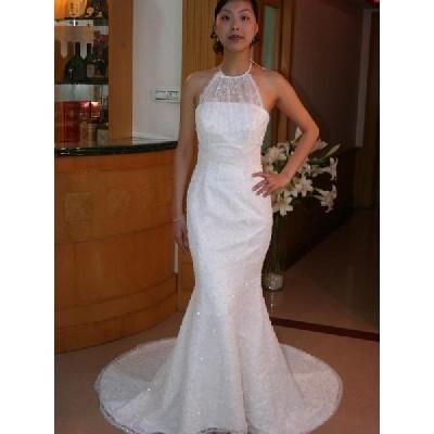 wdk330 憧れのメリハリボディを叶えるホルターネックマーメイドライン ウエディングドレス