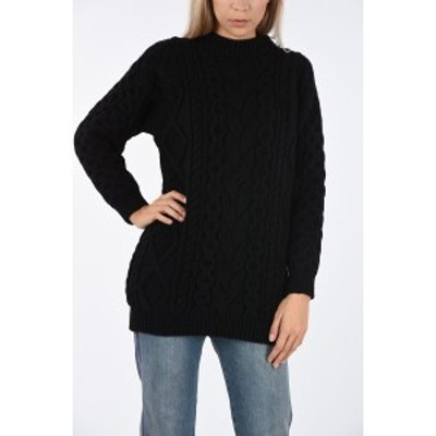 CELINE/セリーヌ Black レディース Wool and Cashmere cable knit crew-neck sweater dk