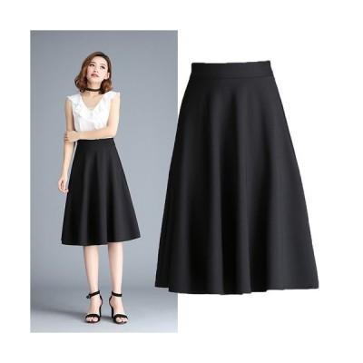 ハイウエスト スカート シンプル キレイめ フレア 大人女子 膝下 ドレープ 通勤 オフィス ブラック ホワイト