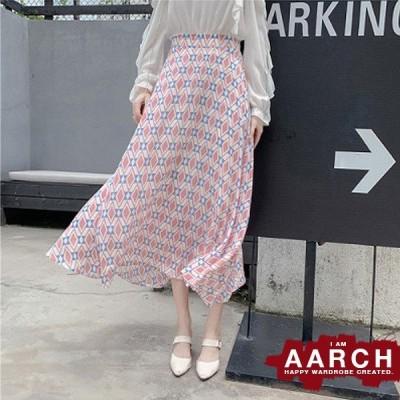 大きいサイズ スカート レディース ファッション ぽっちゃり おおきいサイズ あり レトロ アンティーク柄 ウエストゴム マキシ丈 ロング S M L LL 春夏