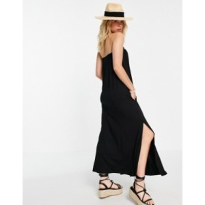 エイソス レディース ワンピース トップス ASOS DESIGN bandeau maxi sundress with pockets in black Black