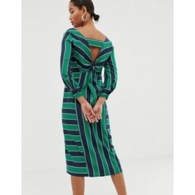 エイソス レディース ワンピース トップス ASOS WHITE knot back stripe midi dress Multi