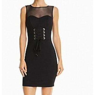 GUESS ゲス ファッション ドレス Guess Womens Black Size Small S Corset Lace Up Illusion Sheath Dress