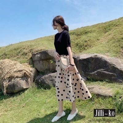 JILLI-KO 兩件套韓版波點長裙套裝- 黑色