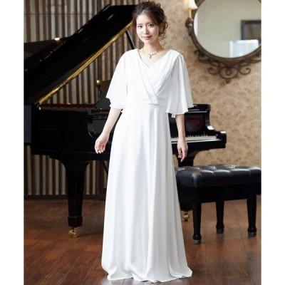 ドレス 2WAYシフォン袖サテン 演奏会用ロングドレス ステージドレス