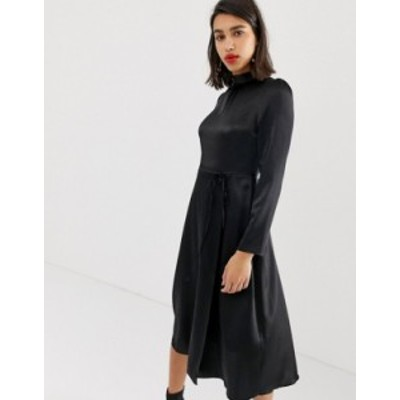 リバーアイランド レディース ワンピース トップス River Island midi dress with tie waist in black satin Black