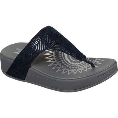 スケッチャーズ Skechers レディース サンダル・ミュール トングサンダル ウェッジソール シューズ・靴 Relaxed Fit Retrogrades Thong Wedge Sandal Navy