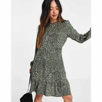 オンリー Only レディース ワンピース ミニ丈 ワンピース・ドレス Mattea Long Sleeve Mini Dress In Olive Green カーキ