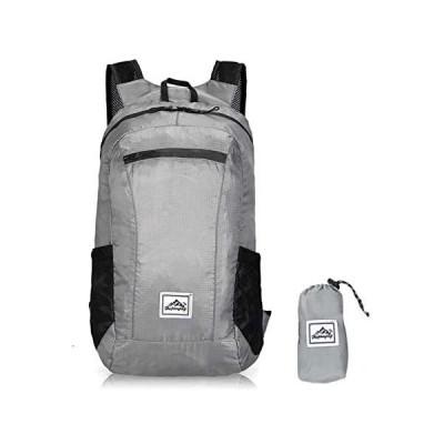 LUFFANN アウトドアバッグパック 大容量リュック 防水 軽量 大容量 防水リュック 折りたたみ式リュックサック バックパック (グレー)