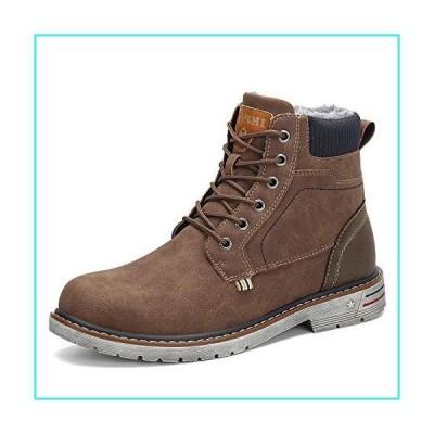 【新品】Winter Men's Snow Boots Warm Trekking Walking Women's Hiking Ankle Boots Casual Slip On Brown 8 Women/6.5 Men(並行輸入品