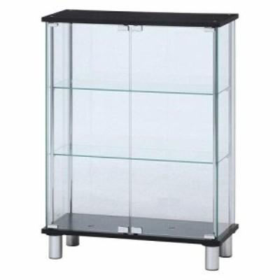 不二貿易 ガラスディスプレイケース3段 ワイド BK 型番:TMG-G126-2 品番99486 BK 色:BLACK