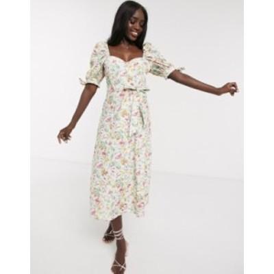 エイソス レディース ワンピース トップス ASOS DESIGN cotton poplin puff sleeve midi skater dress in ditsy floral with rhinestone