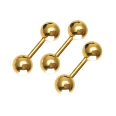 ストレートバーベル ボディピアス/ボディーピアス 3個セット 16G [SB07]  (#11/ゴールド/ボール5mm/3個)