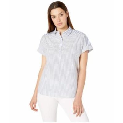 ペンドルトン レディース シャツ トップス Short Sleeve Popover Two Stripe Shirt Blue/White Mixed Stripe
