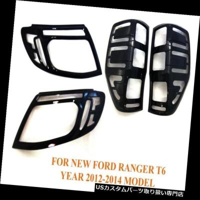 USヘッドライトカバー セットブラックヘッドテールライトランプトリムカバーフィットフォードレンジャーT6 2012 14ピックアップ  Set Bla