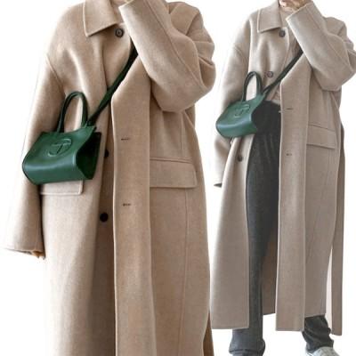 韓国 ファッション 冬 レディース ロングコート 防寒 冬服 コート アウター ベージュ