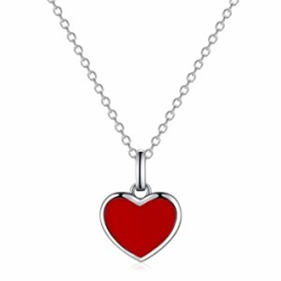 IDASANY Dainty Necklaces for Women Girlfriend Wife, Sterling Silver Tiny Red Heart Necklace Charm Layered Pendant for Valentines