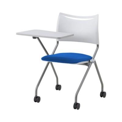 ミーティングチェア 折りたたみチェア キャスター付き メモ台付き 会議椅子 肘なし ネスティングチェア スタッキングチェア 布張り ビニールレザー LTS-4N-MD
