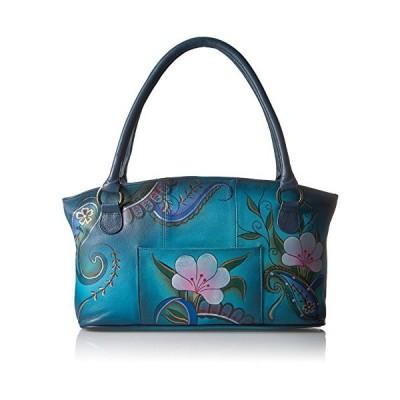 Anna by Anuschka Tote Bag | Genuine Leather | Wide, Denim Paisley Floral【並行輸入品】