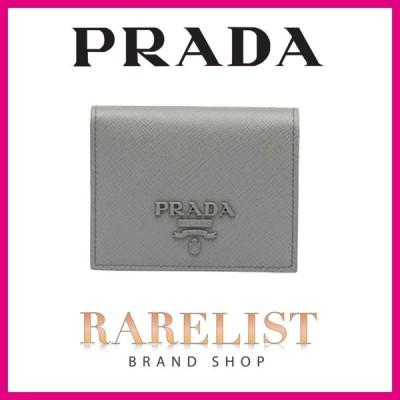 プラダ PRADA 財布 小財布 二つ折り 2つ折り ライトグレー シルバー レザー
