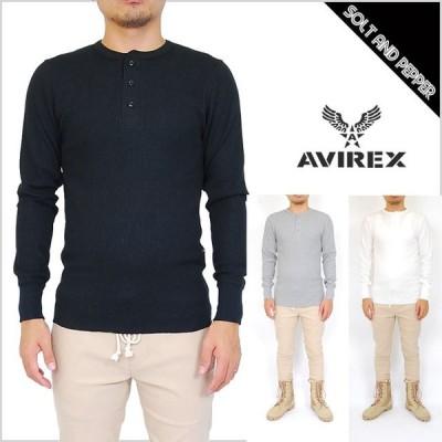 AVIREX アヴィレックス DAILY L/S THERMAL HENLY NECK T-SHIRT TOPS WHITE BLACK GRAY デイリー サーマル ヘンリーネック Tシャツ トップス ホワイト 白 ブラ